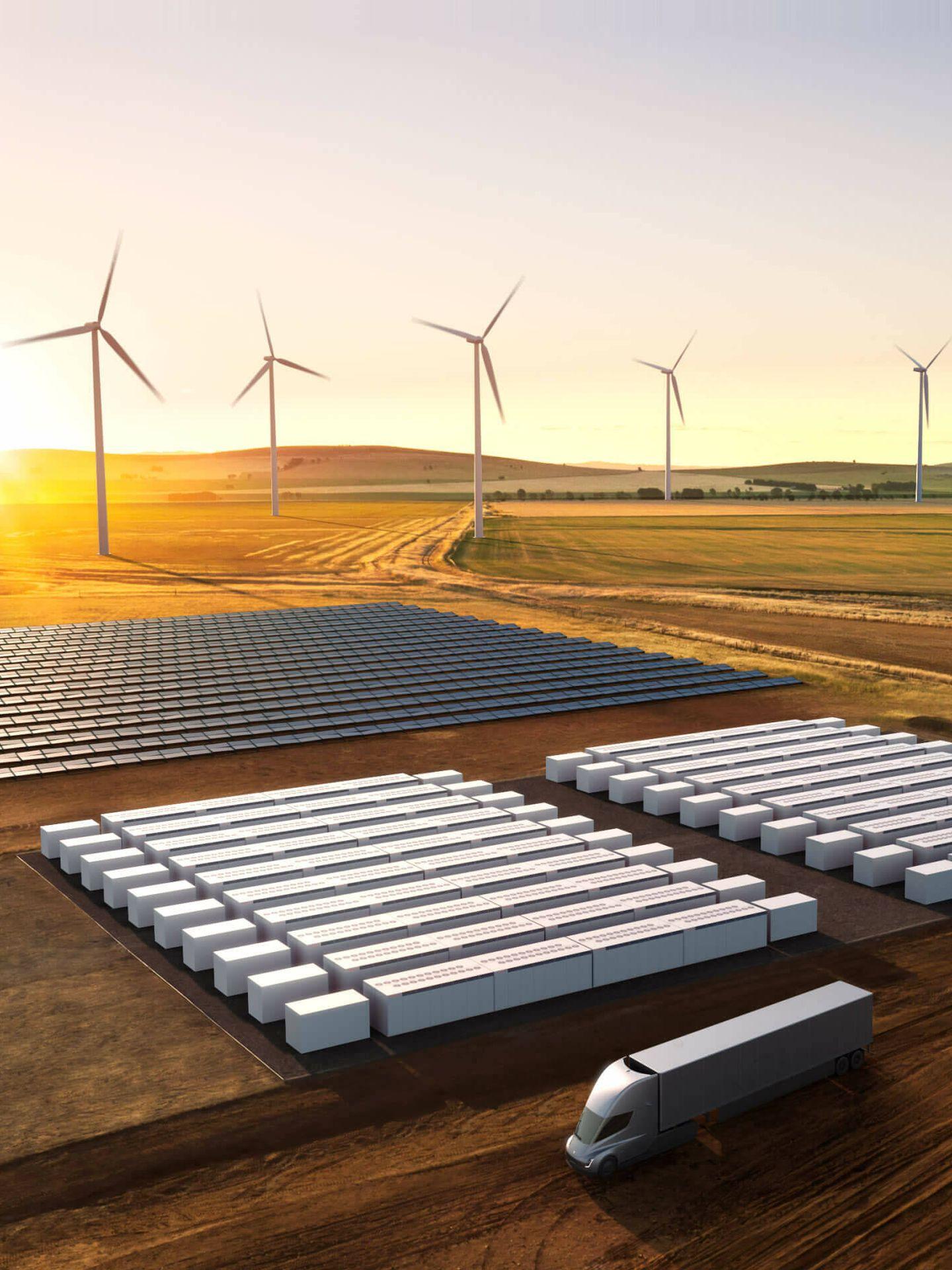 Ilustración de un par de docenas de Megapacks al lado de una planta de energía renovables (Tesla)