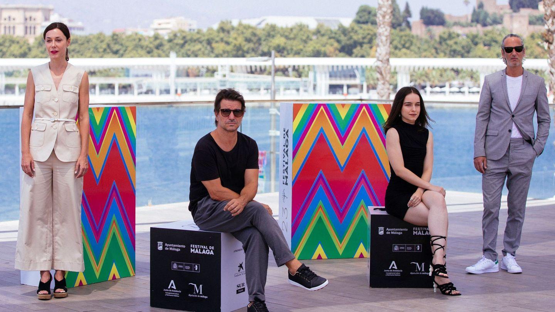 Achero Mañas, Gala Amyach y Ernesto Alterio, en la presentación de la película. (EFE)
