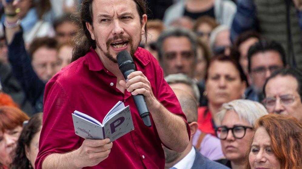 Foto: Pablo Iglesias, durante un acto electoral de la formación en la Plaza España de Palma. (EFE).