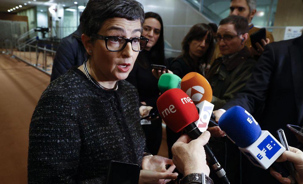 Foto: Arancha González Laya, en el momento de sus polémicas declaraciones sobre Guaidó. (EFE)