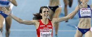 Foto: Nuria Fernández, oro, y Natalia Rodríguez, bronce, en el 1.500 femenino
