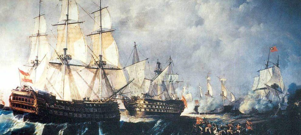 Foto: Rescate del navío de línea Santisima Trinidad, centro, por el navío Infante don Pelayo, izquierda. (Antonio de Brugada Vila)