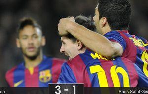 El Barcelona se quita la espina del PSG y sus tres estrellas se reparten los goles