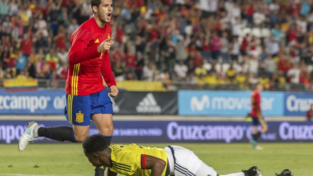 Foto: Morata, celebrando un gol en el España-Colombia. (EFE)