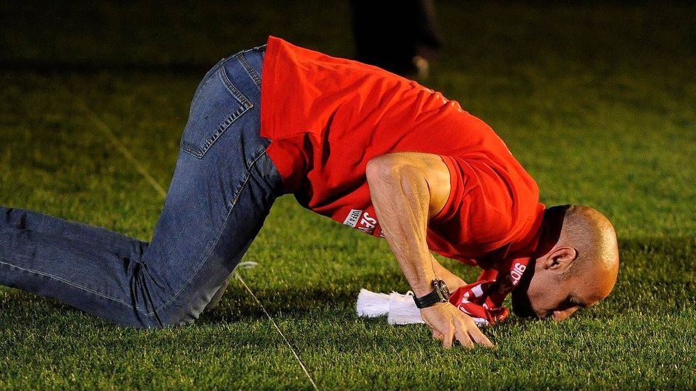 Foto: Monchi, durante la celebración de la quinta Liga Europa del Sevilla (Foto: Sevilla FC)