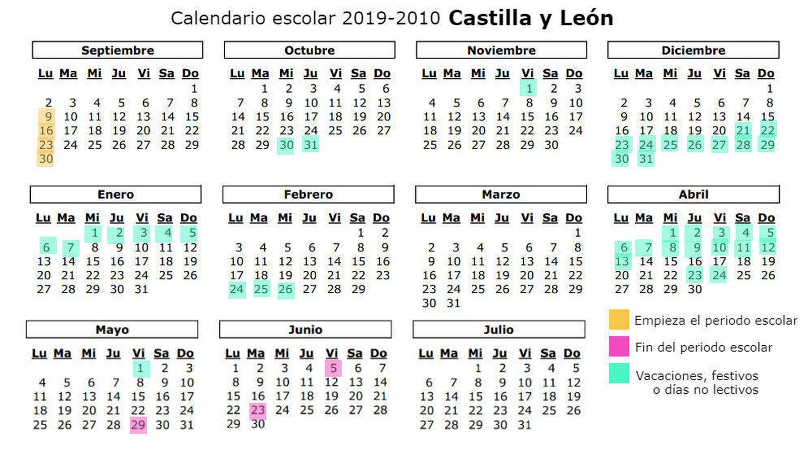 Calendario Laboral Castilla Y Leon 2020.Calendario Escolar 2019 2020 Para Castilla Y Leon Vacaciones
