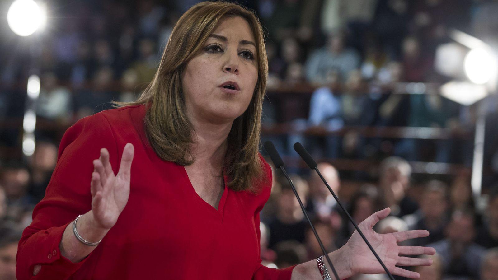 Foto: Susana Díaz, el pasado 11 de febrero durante su acto con alcaldes y ediles socialistas en Madrid. (EFE)