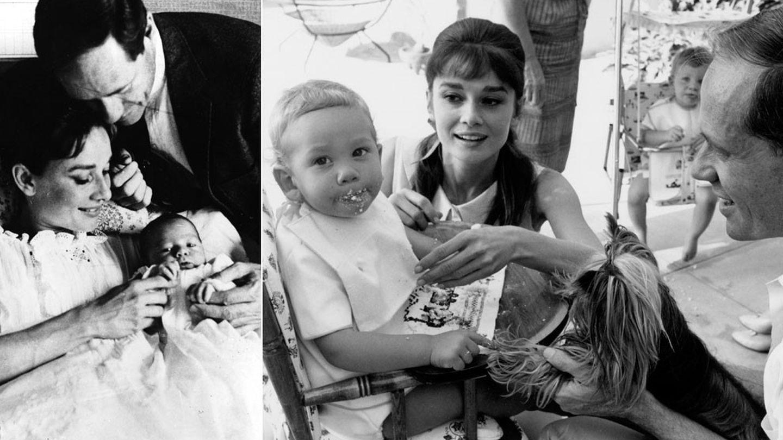 Audrey Hepburn junto a su hijo Sean