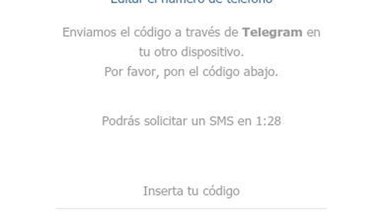Una vez recibas el código en tu móvil podrás usar Telegram Web en tu navegador. (Imagen: José Manuel Blanco)