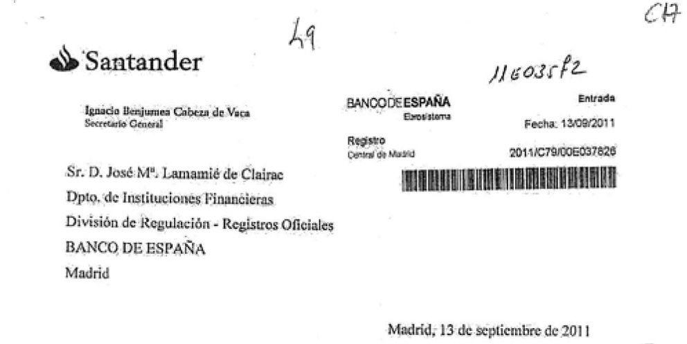 Foto: La carta que el Santander envió al BdE por la inhabilitación de Sáenz