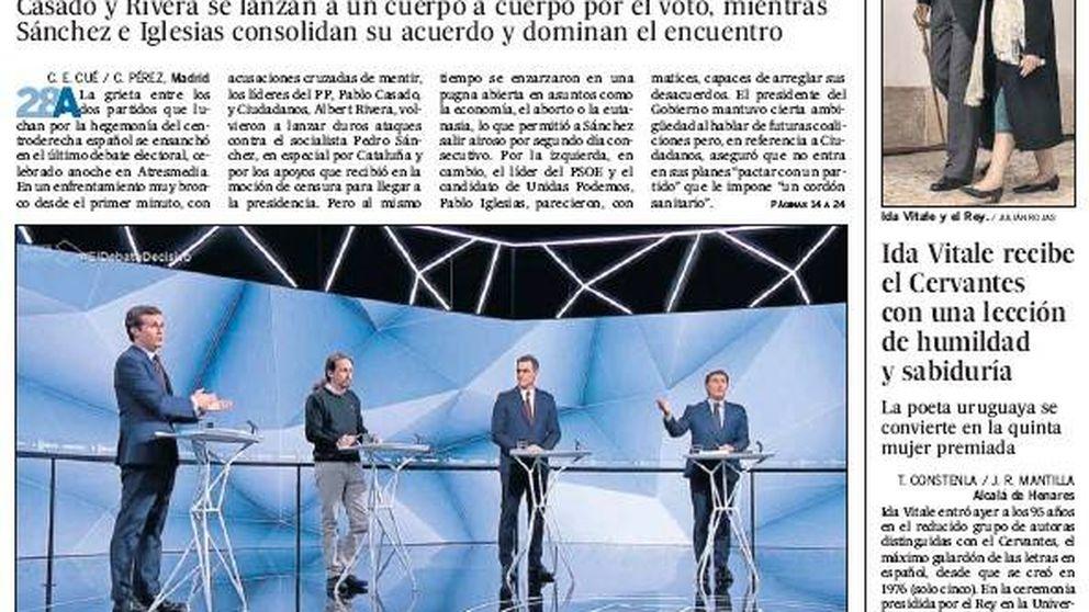 El segundo debate entre Iglesias, Sánchez, Casado y Rivera, en la prensa nacional