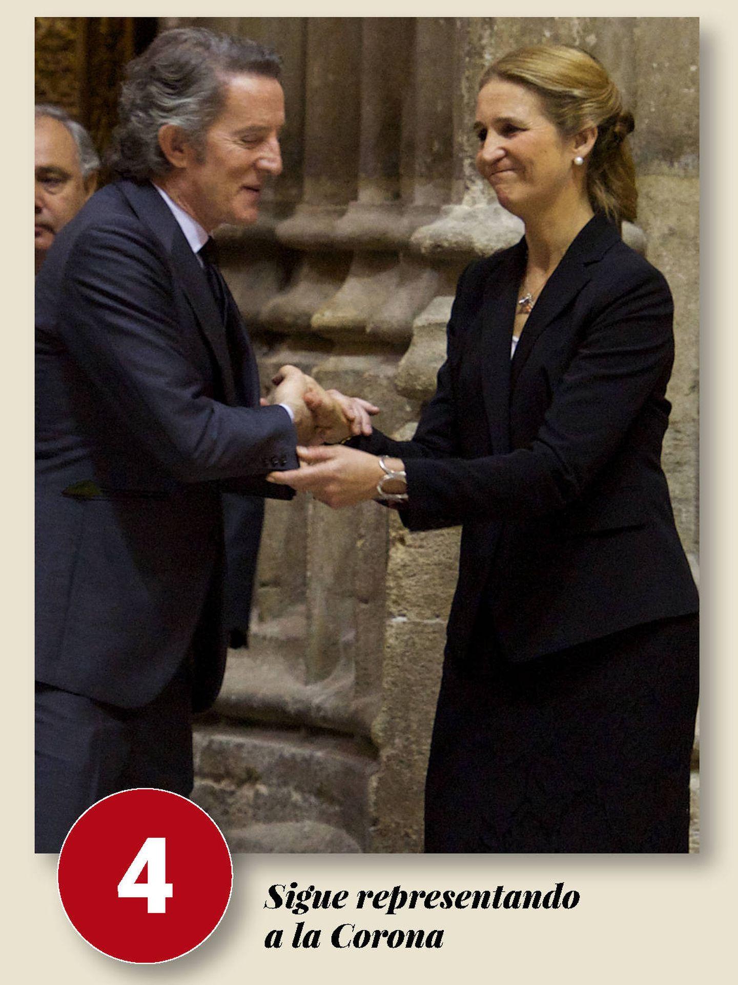 Elena, en el funeral de la duquesa de Alba. (Getty)