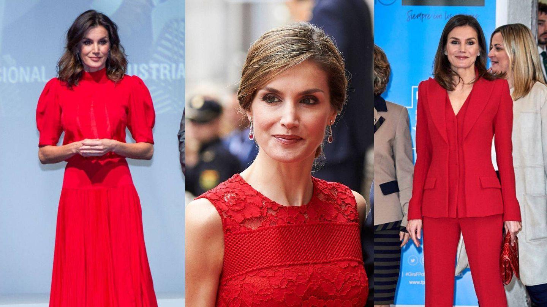 Tres looks de la reina Letizia en color rojo. (Getty/Limited Pictures)