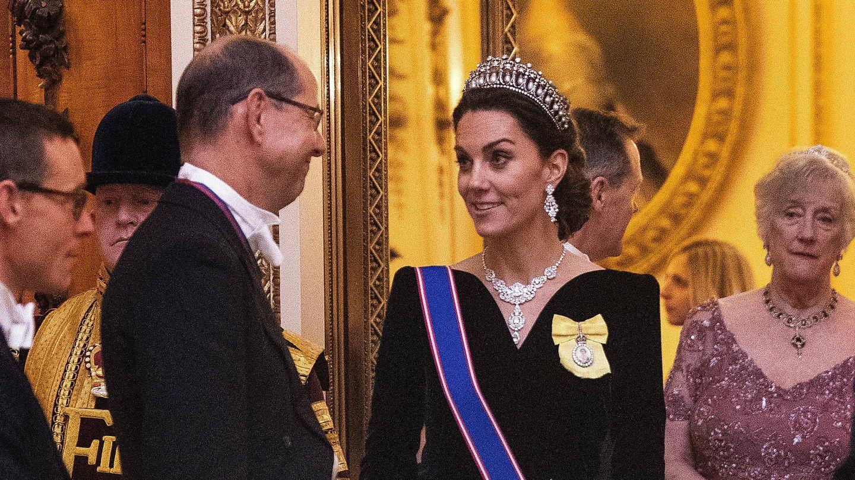 Kate Middleton, en la recepción al cuerpo diplomático en Buckingham. (Getty)