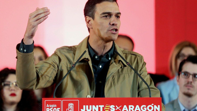 Pedro Sánchez, en el mitin de Zaragoza. (EFE)