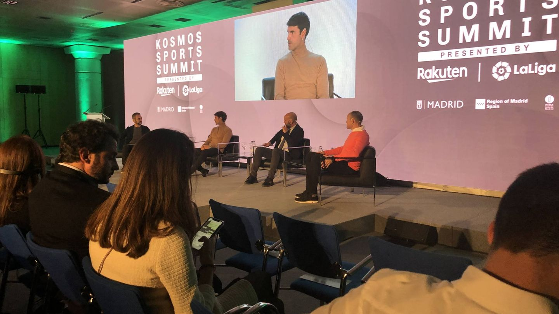 Monchi, Xabi Prieto y Matu Lahoz, durante el Kosmos Sports Summit celebrado en Madrid. (KM)