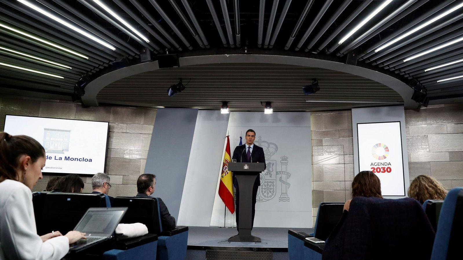 Foto: Pedro Sánchez, durante su comparecencia desde La Moncloa. (EFE)