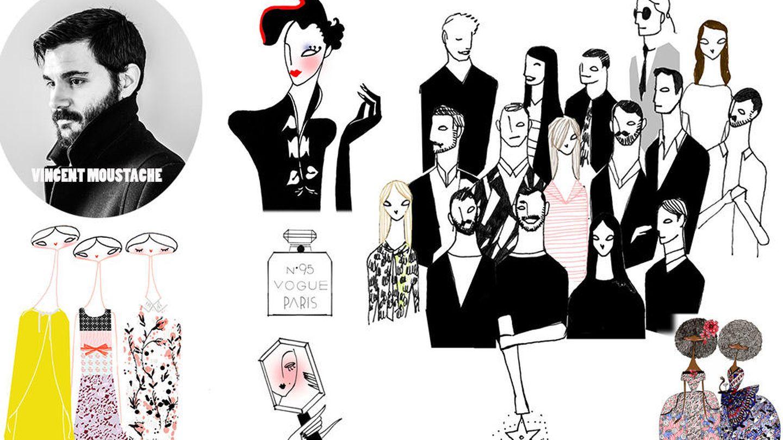 Estampas oníricas o figurines de moda son algunos de los personajes en los que se inspira Moustache (Cortesía)
