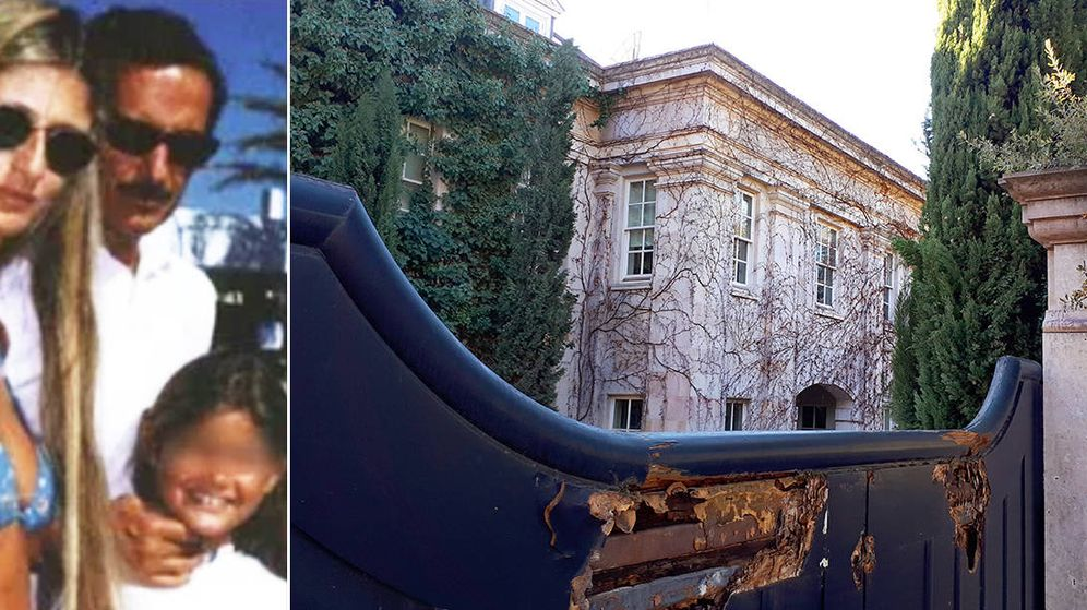 Foto: El Assir junto a su primera esposa, en Sotogrande hace lustros. A la derecha su mansión en estado de abandono. R. M.