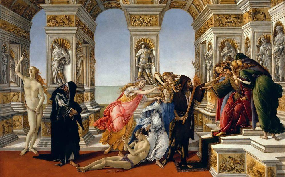 Foto: 'La calumnia', de Sandro Botticelli. 1494. Galería de los Uffizi, Florencia.