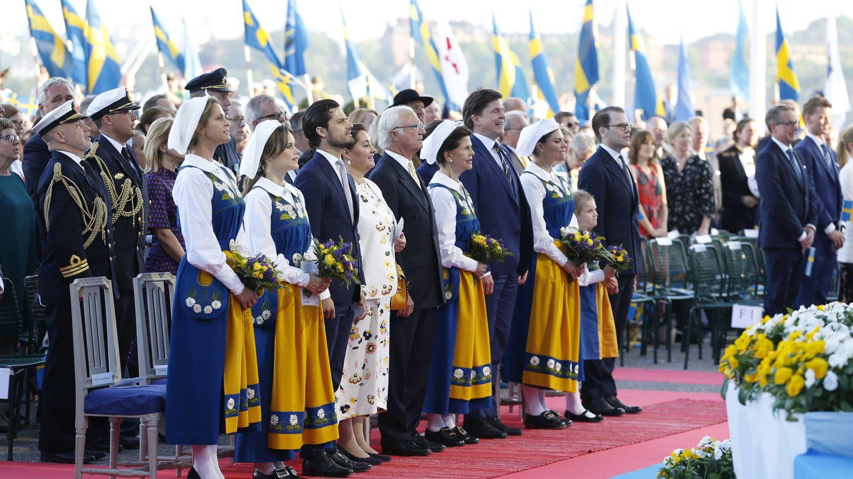 La familia real en el Día Nacional de Suecia. (Getty)