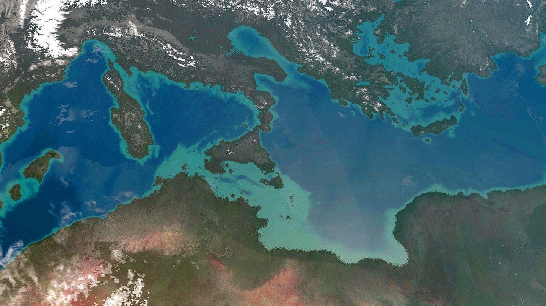 Recreación artística de Atlantropa. (Wikipedia)