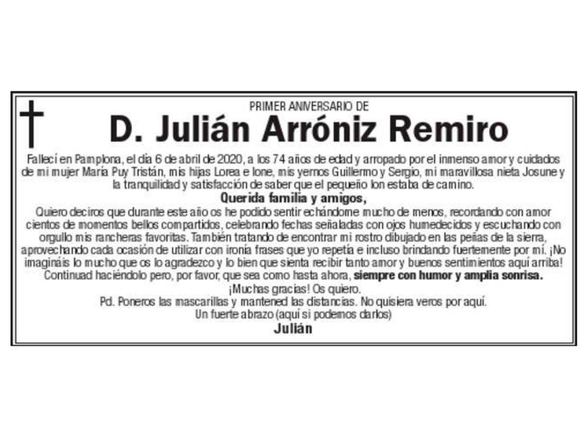 Foto: La esquela de Julián se ha hecho viral en las redes sociales (Twitter)