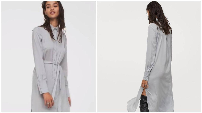 Vestido camisero gris de HyM. (Cortesía)