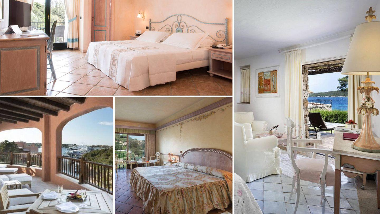 Siguiendo las agujas del reloj: Hotel La Rocca; Hotel Pitrizza; Hotel Le Palme y Hotel Cervo Costa Smeralda Resort.
