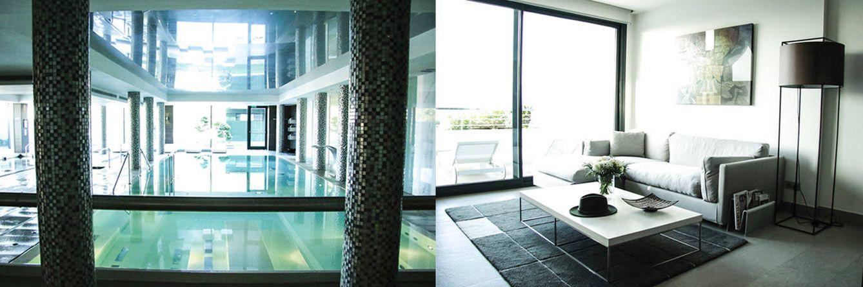 Foto: Imagen de una de las zonas de aguas de Sha Wellness Clinic. A la derecha, una de las 93 amplias y confortables suites del establecimiento.