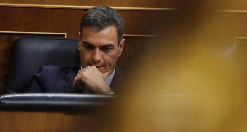 Foto: Pedro Sánchez, durante el debate de las enmiendas de totalidad de los Presupuestos del Estado, este 12 de febrero en el Congreso. (EFE)