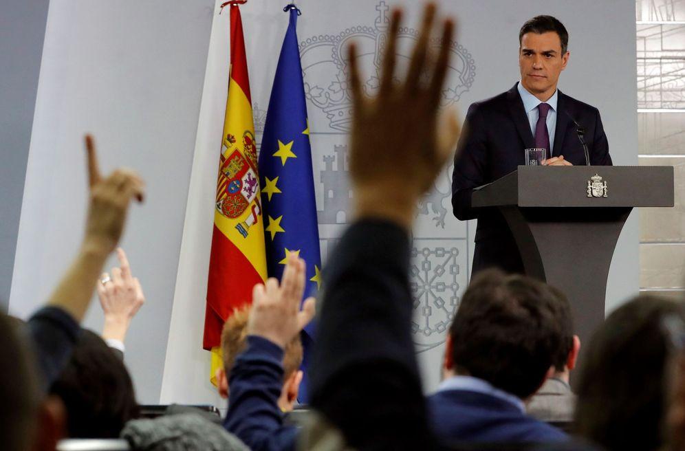 Foto: Pedro Sánchez, este 28 de diciembre en La Moncloa durante su comparecencia de balance de mandato. (EFE)
