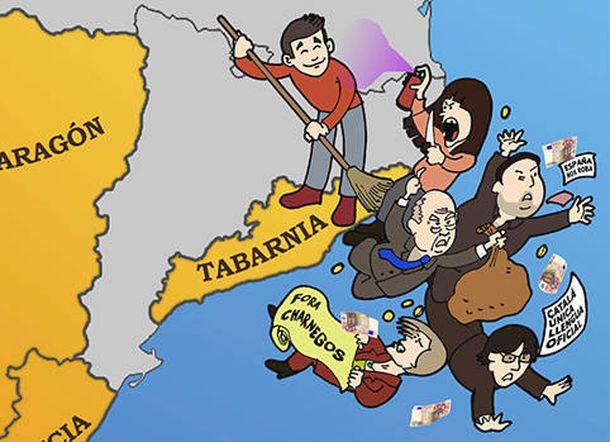 Foto: La agrupación de Sabadell de la Plataforma por l'Autonomía de Barcelona saca un cartel para reivindicar la autonomía de Tabarnia. (bcnisnotcat)