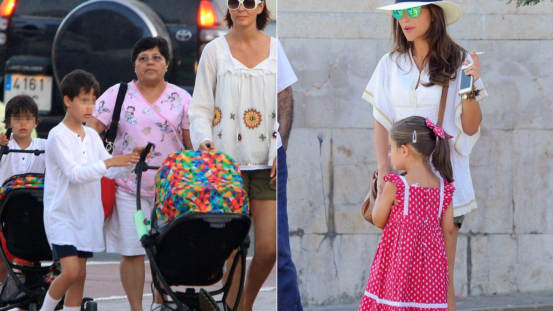 Mar Flores y sus hijos en una foto de archivo y Paula Echevarría con Daniela (Gtres)