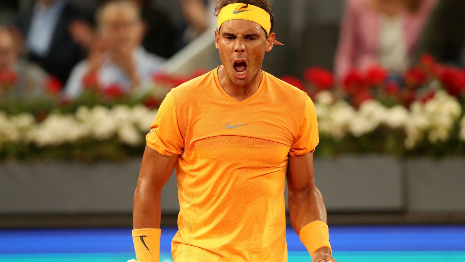 Foto: Rafa Nadal celebra con rabia uno de sus puntos ante Diego Schwartzman en los octavos de final del Mutua Madrid Open. (Reuters)