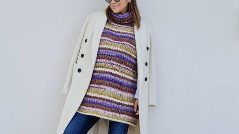 Paula Echevarría triunfa con el jersey-poncho de Mango que pueden llevar embarazadas o no