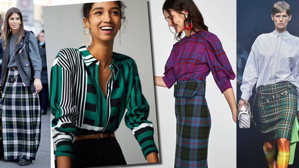 Falda escocesa y camisa de rayas, la nueva tendencia apta para la oficina