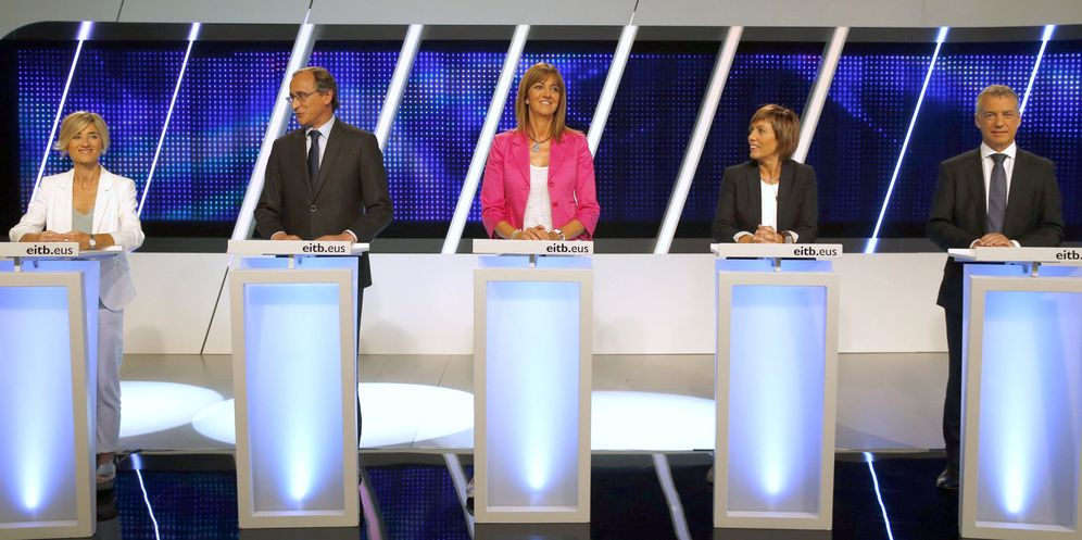 Foto: Los candidatos a lehendakari del PNV, Iñigo Urkullu (2-d); Podemos, Pili Zabala (2-i); PSE, Idoia Mendia (d); y PP, Alfonso Alonso (i), y la cabeza de lista de EH Bildu por Álava, Miren Larrion. (EFE)