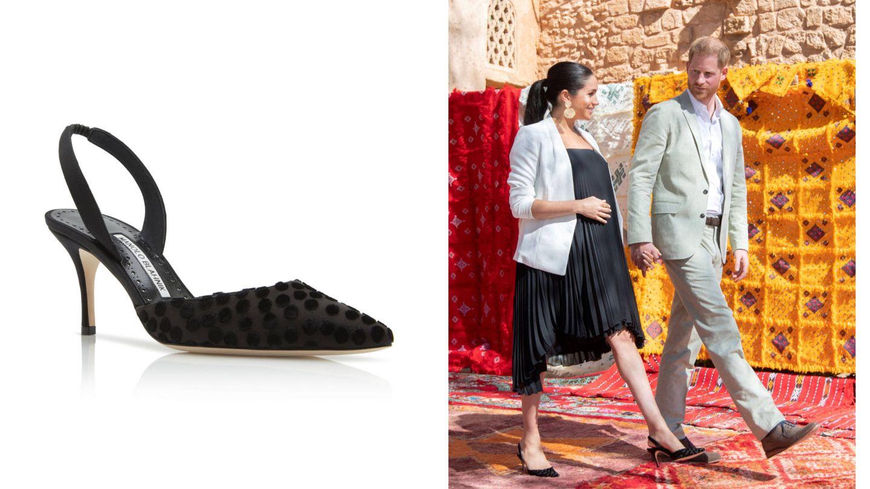 Meghan y sus zapatos destalonados de Manolo Blahnik. (Reuters)