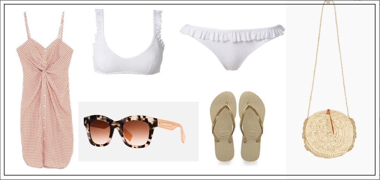Bikini de Calzedonia, vestido de Zara, gafas de Fendi, chanclas de Havaianas y bolso de Masscob.