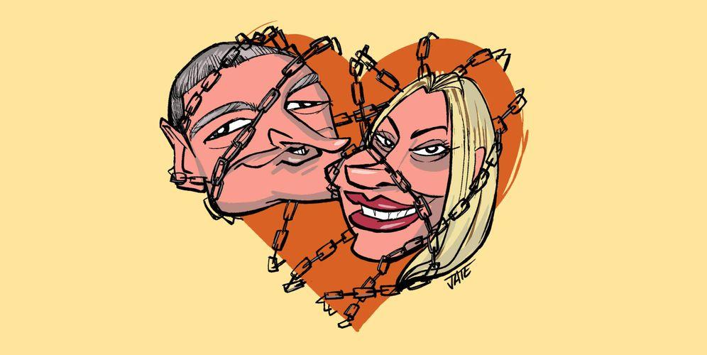 Foto: Gustavo González y María Lapiedra. Viñeta de Jate para Vanitatis