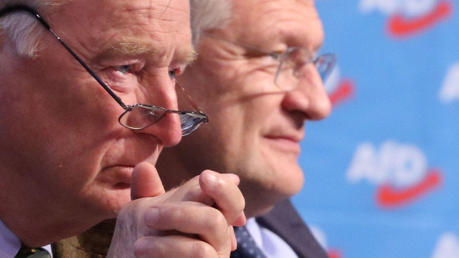 Foto: Alexander Gauland (i) y Jorg Meuthen (d), durante el congreso de Alternativa para Alemania, en Hannover. (EFE)
