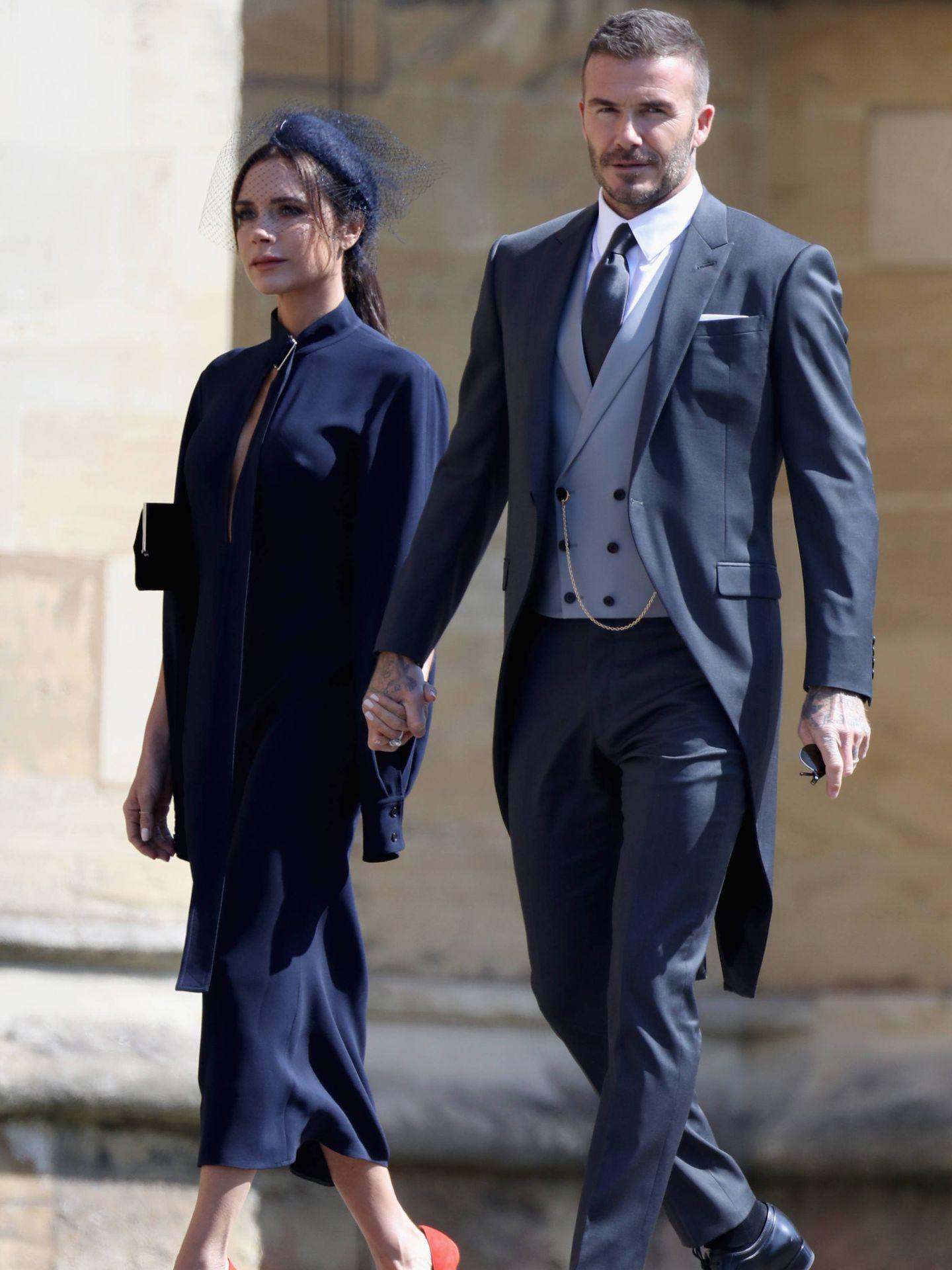 Victoria y David Beckham, en la boda de Harry y Meghan. (Getty)