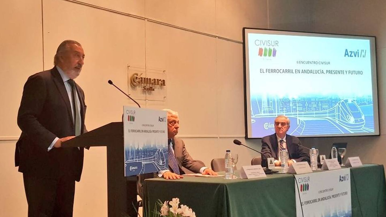 Julio Gómez-Pomar, secretario de Estado de Infraestructuras, en la jornada de Civisur y Azvi en Sevilla. (Ministerio de Fomento)
