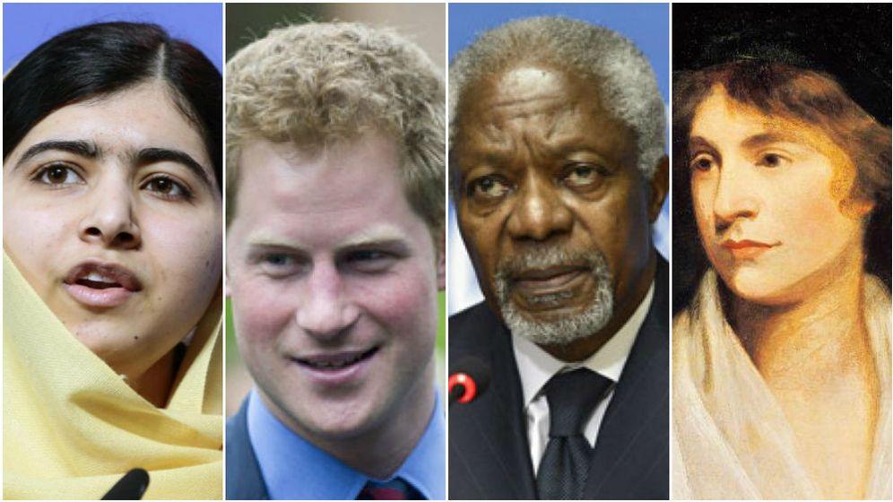 Foto: De izq. a dcha.: Malala Yousafzai, Enrique de Inglaterra, Kofi Annan y Mary Wollstonecraft.