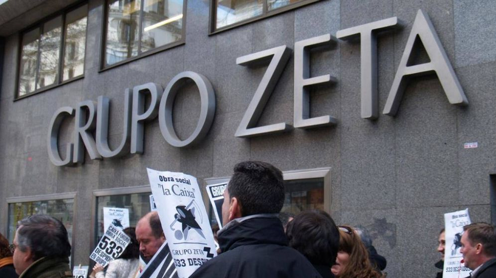 Foto: Protestas de los trabajadores de Grupo Zeta. (Foto: Sindicatos de Periodistas de Madrid)