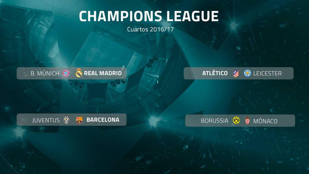 Bayern-Real Madrid, Atlético-Leicester y Juve-Barça, en cuartos de Champions