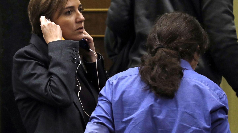 Tania Sánchez y Pablo Iglesias. (EFE)