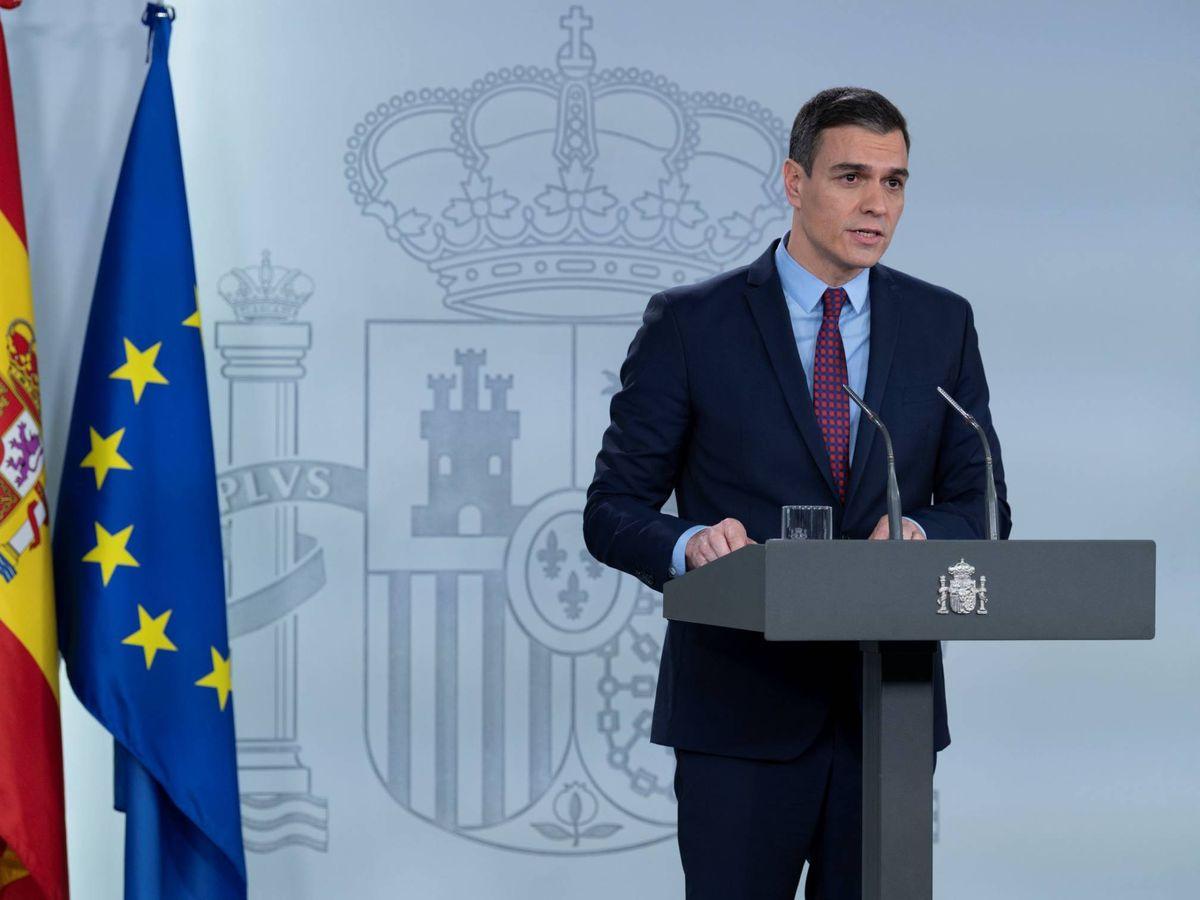 Foto: Pedro Sánchez, durante su comparecencia en la Moncloa de este 12 de marzo. (EFE)