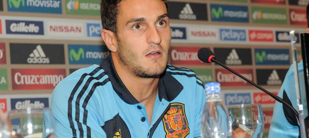 Foto: Koke, durante la rueda de Prensa con la Selección